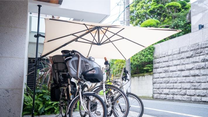 パラシェードスクエア,自宅自転車の日・雨よけとしての設置写真