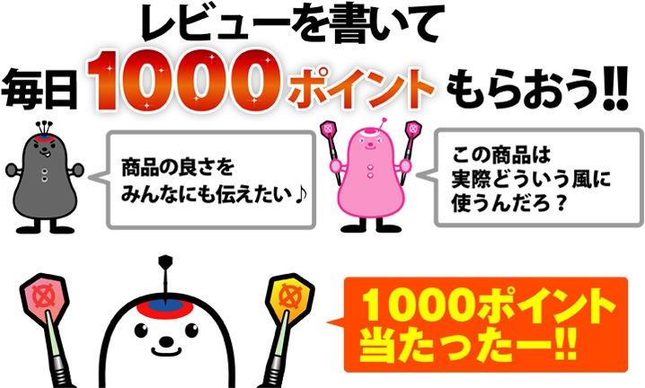 レビューを書いて1000ポイントもらおう!!