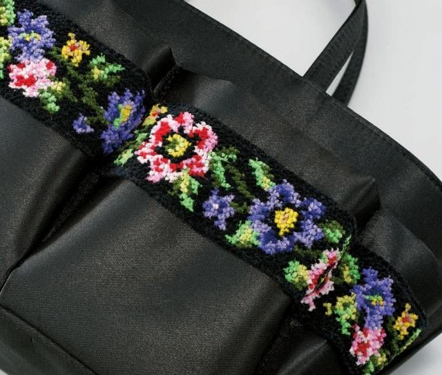 母・父・祖母・祖父へのプレゼント 持ち運べる小物入れ シェニール織 小物バッグ シェニール織り部分アップ