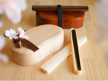 お豆型くりぬき弁当箱とお箸・はし箱のギフトセットの画像