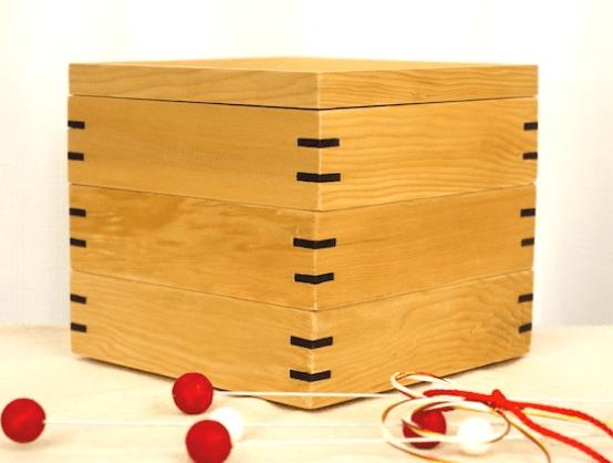 家族団らんのいつも側に。白木の三段重箱