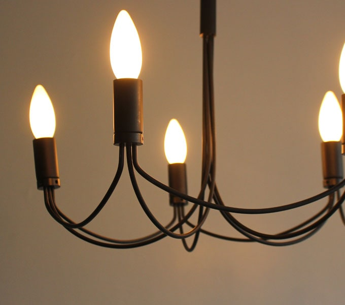 Arco-small chandelier black 横から