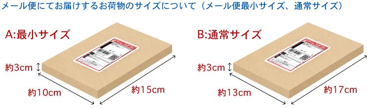 メール便にてお届けするお荷物の最小サイズ、通常サイズ