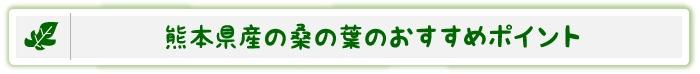 熊本県産の桑の葉のおすすめポイント