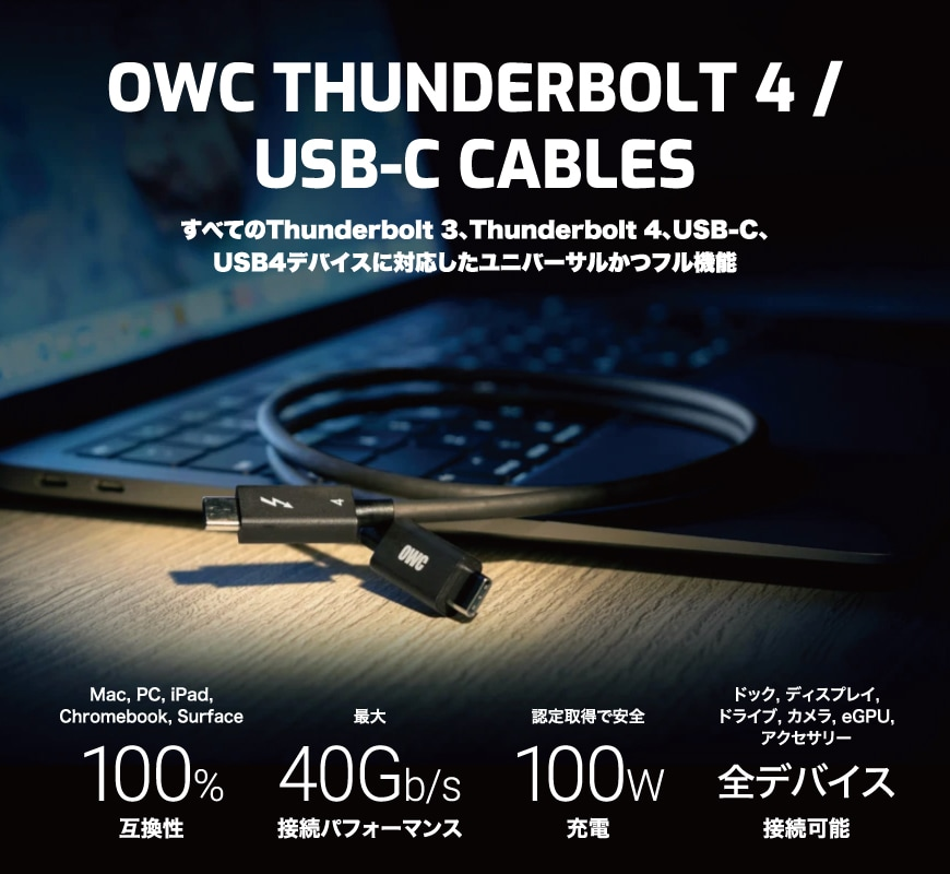 OWC Thunderbolt 4 / USB-C Cable 説明1