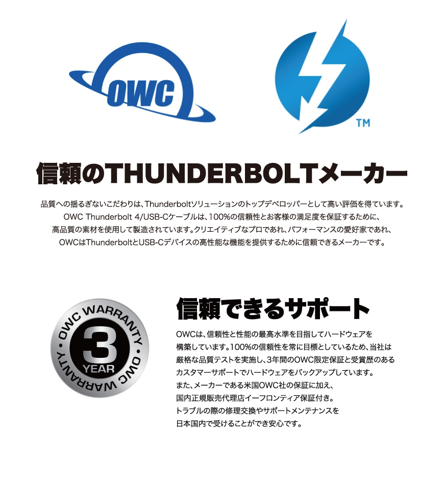 OWC Thunderbolt 4 / USB-C Cable 説明6