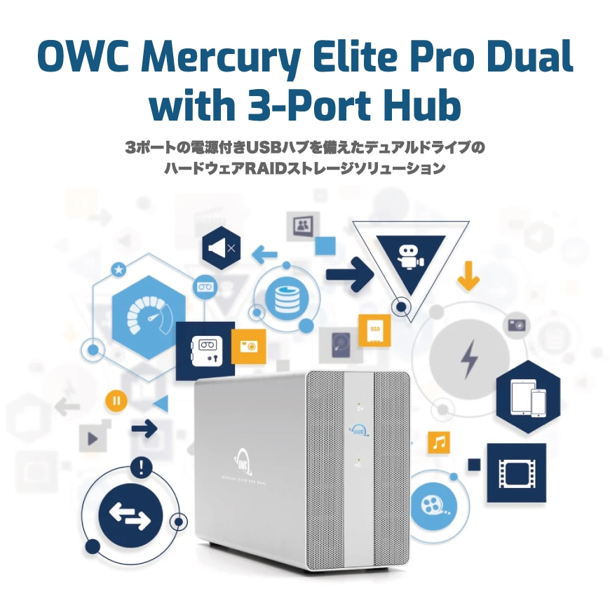 OWC Mercury Elite Pro Dual with 3-Port Hub 説明1