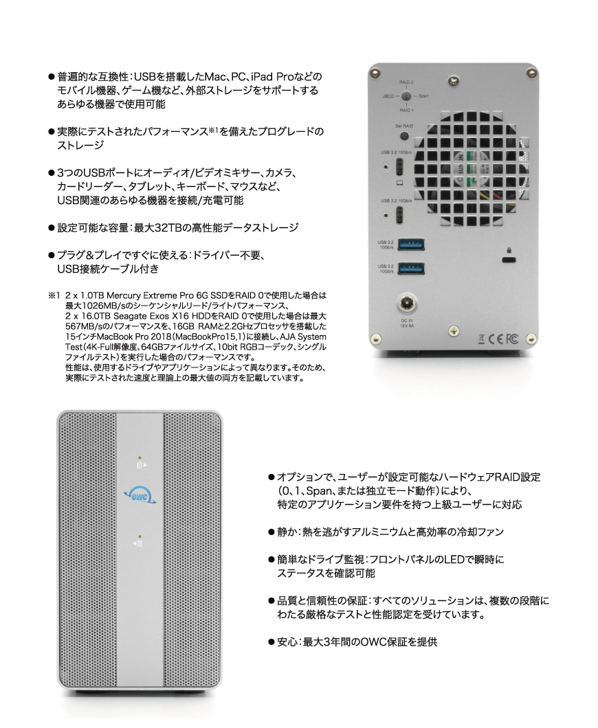 OWC Mercury Elite Pro Dual with 3-Port Hub 説明3