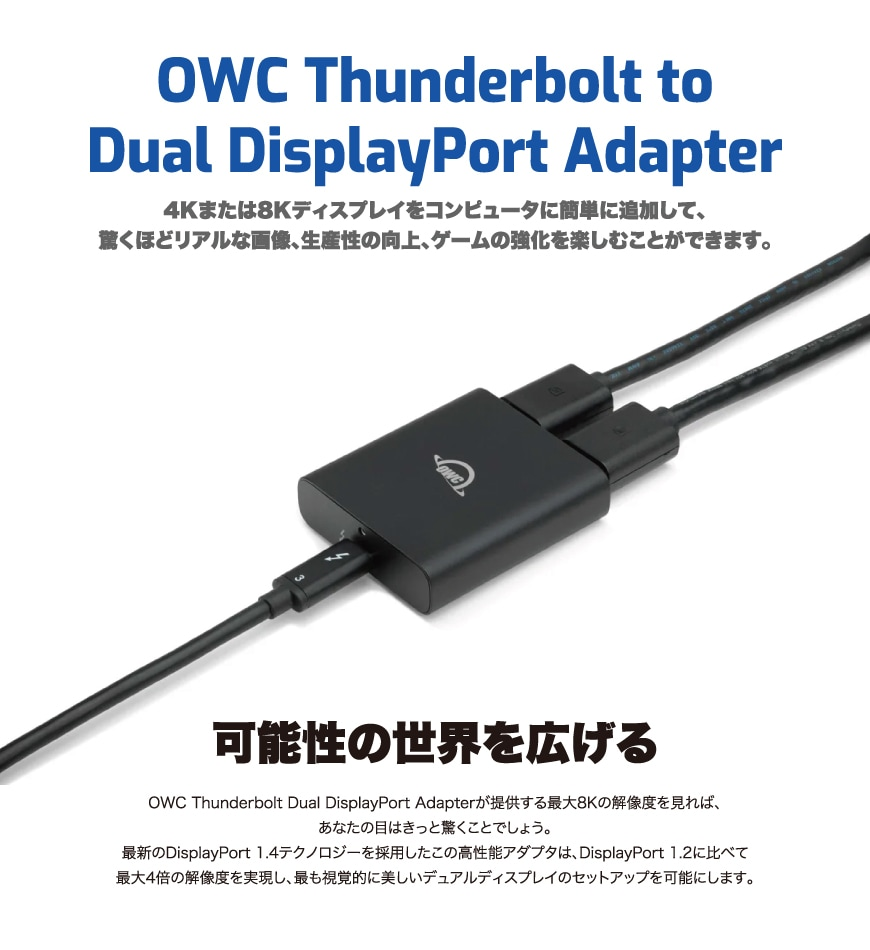 OWC Thunderbolt to Dual DisplayPort Adapter 説明1