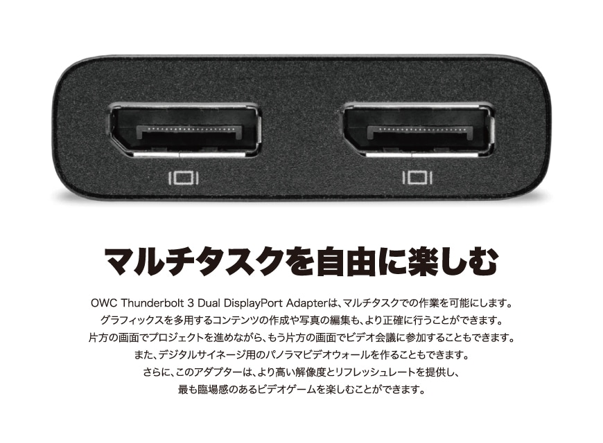 OWC Thunderbolt to Dual DisplayPort Adapter 説明2