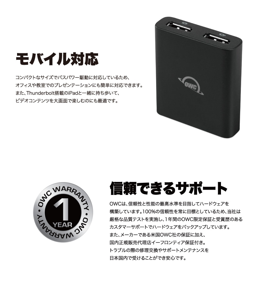 OWC Thunderbolt to Dual DisplayPort Adapter 説明4