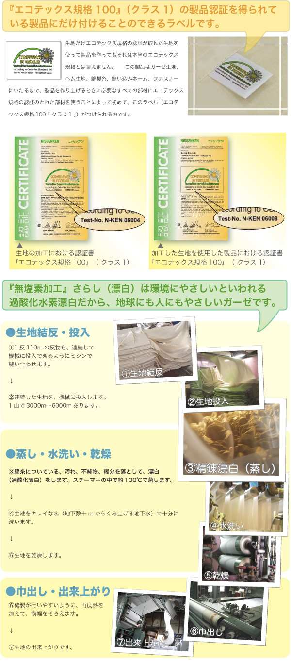 エコテックス規格100ラベル、無塩素加工晒(過酸化水素漂白)