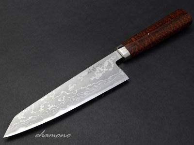 西田刃物工房 大祐作 白紙1号本割込み フルカスタム多層鋼剣型牛刀185