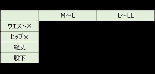 竹布ロングスパッツ サイズ図