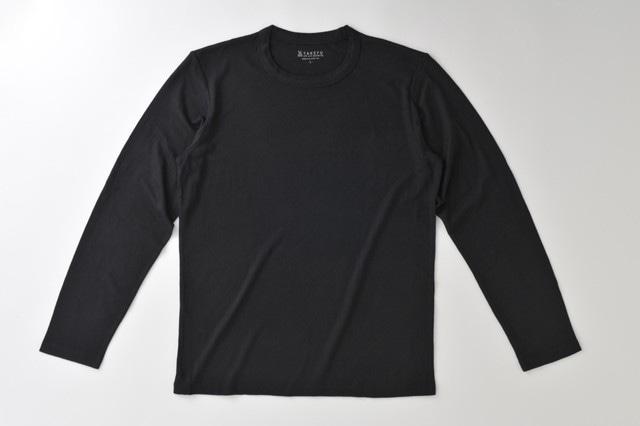 竹の長袖Tシャツ 男性用ブラック