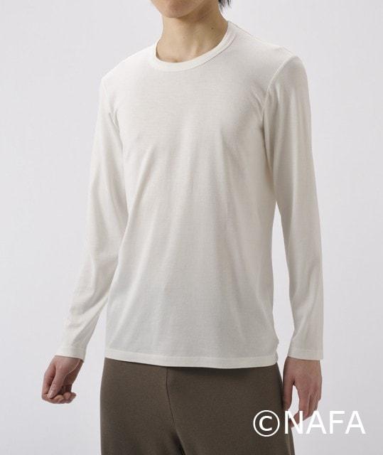 竹の長袖Tシャツ 男性用オフホワイト