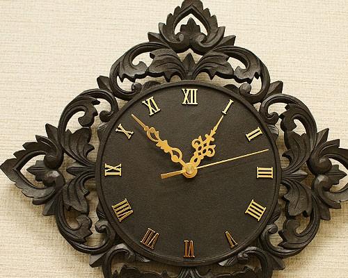 アジアン雑貨 木製 掛け時計 おしゃれ