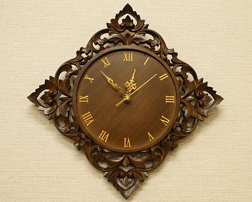 無垢 木製 壁掛け時計 アンティーク
