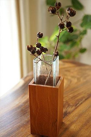 花瓶 一輪挿し ガラス 木製