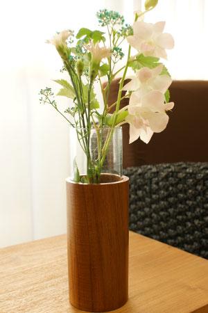 花瓶 フラワーベース ガラス 木製