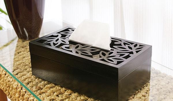 アジアン 木製 ティッシュケース