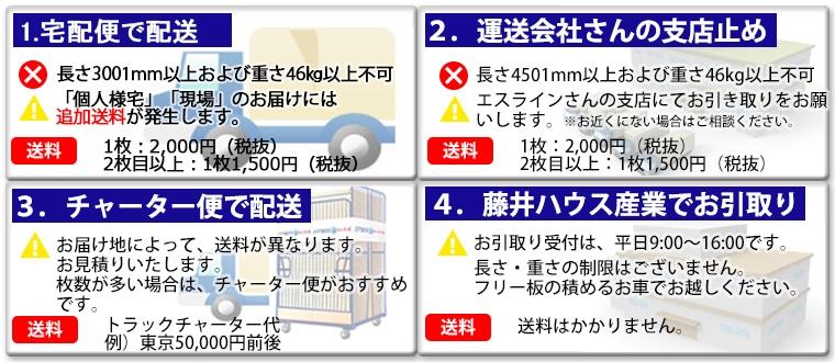 フリー板の配送方法4つ