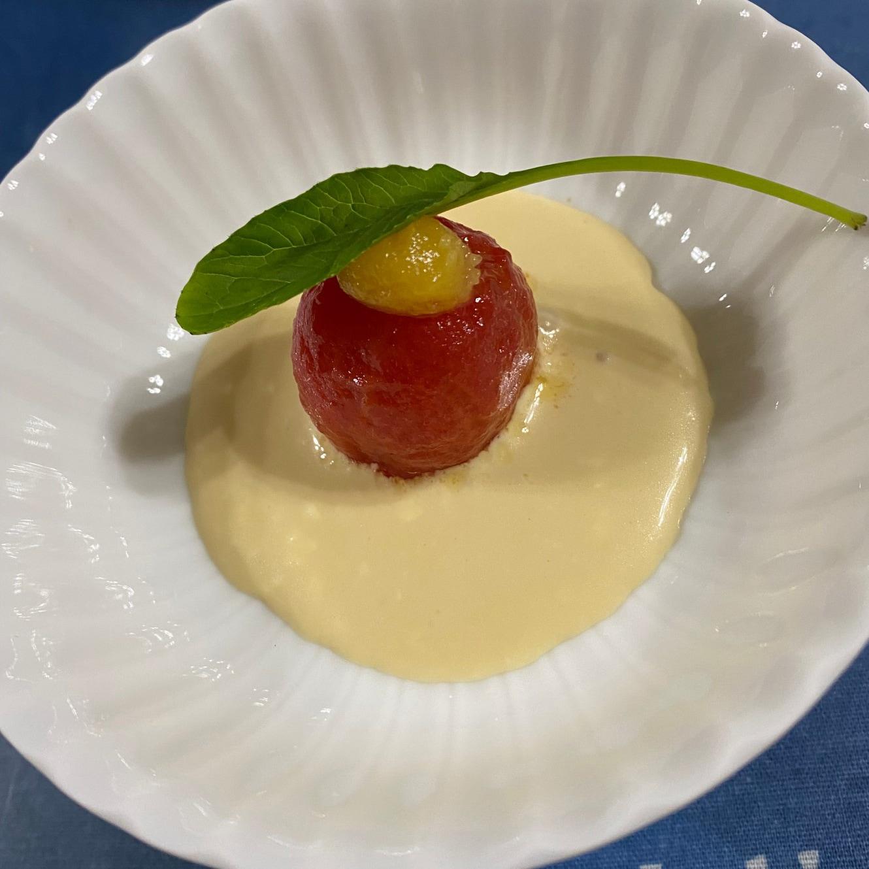 ミニトマトの和風レモンカードクリームソース