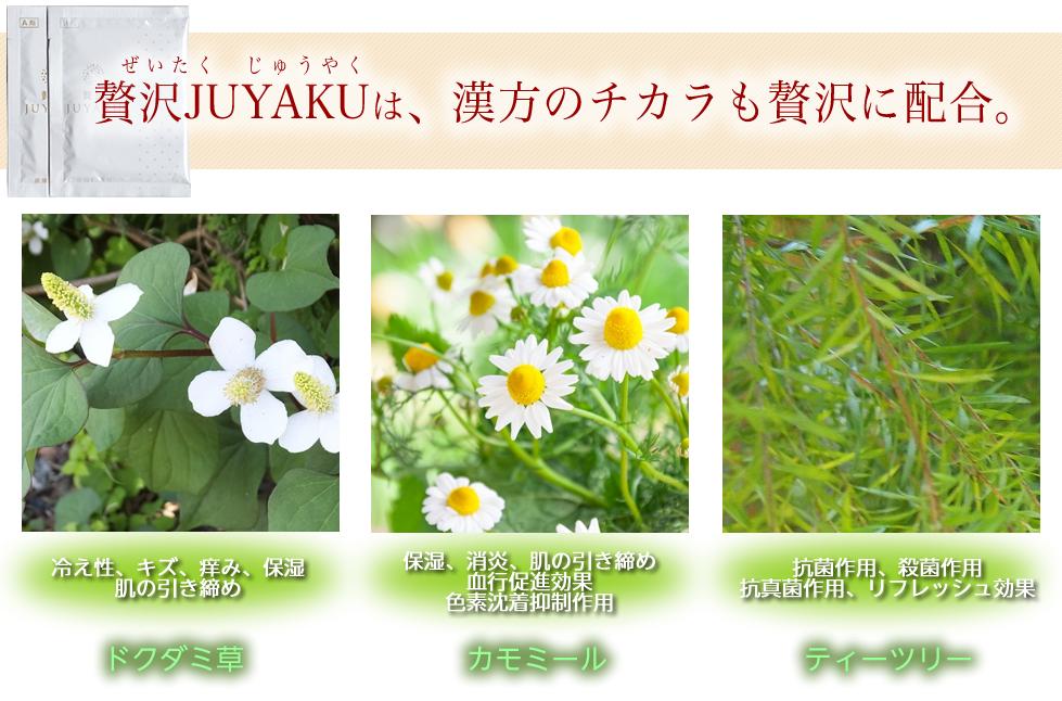 3種類の漢方エキス配合の贅沢JUYAKU