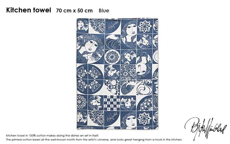ビヨン・ヴィンブラッド,Bjorn Wiinblad,Tea Towel,ティータオル,キッチンタオル,50×70cm,ブルー,北欧,デンマーク,北欧雑貨,北欧インテリア,北欧ギフト