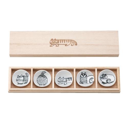 木箱入り箸置き5個セット,スケッチキャット,lisa larson,リサラーソン
