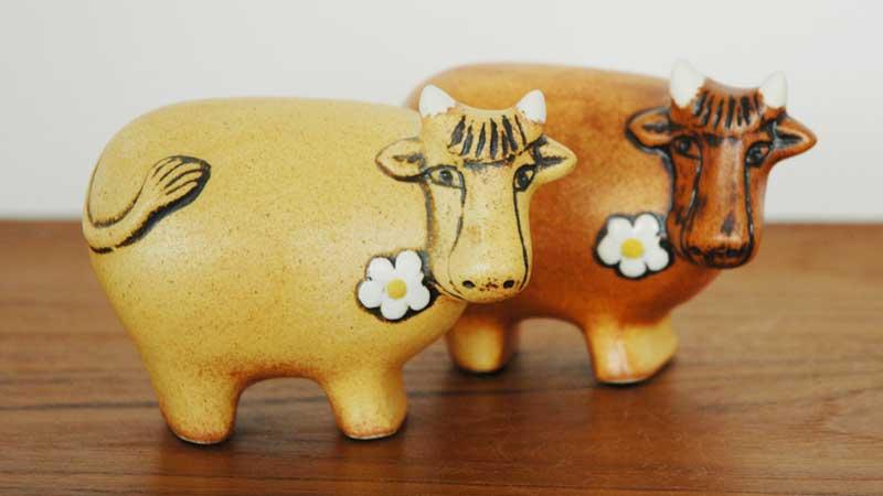 スウェーデンのお花のうし,Lisa Larson,リサラーソン,北欧,オブジェ,置物,北欧雑貨,北欧インテリア