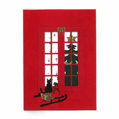 クリスマスカード,ソリに乗ったネコ,Oda Wiedbrecht,オダ・ウィードブレクト,北欧デンマーク,ハンドメイドクラフト