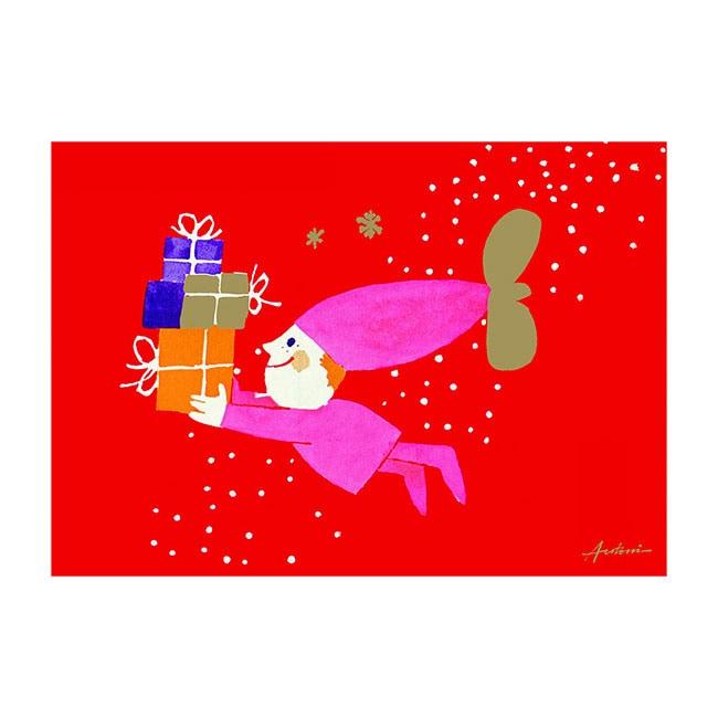 Ib Antoni (イブ・アントーニ) X'mascardクリスマスカード,child with prezent,北欧デンマーク,ハンドメイドクラフト