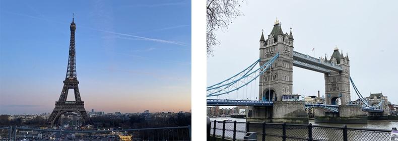 パリのエッフェル塔、ロンドンのタワーブリッジ