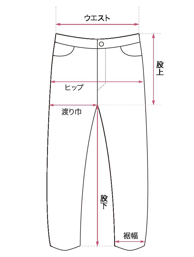 パンツ サイズガイド画像