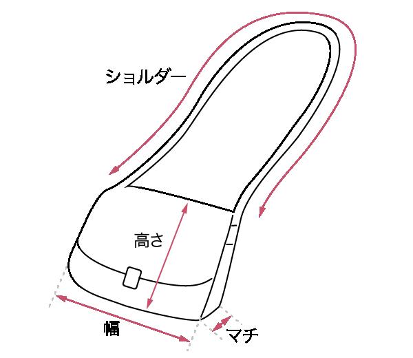 ショルダーバッグ サイズガイド画像