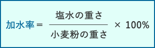 加水率=(塩水の重さ/小麦粉の重さ)×100%