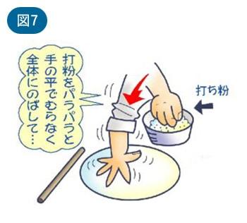 打粉をパラパラと手の平でむらなく全体にのばして…
