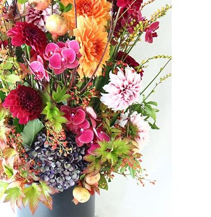秋のイベントにぴったり。人気のダリアをメインに、高級花とされるコチョウランを合わせたトールタイプのスペシャルアレンジメント。会場装花にもライフデコのフラワーギフト