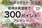 祝!令和!新元号スタートキャンペーン!新規会員登録で300ポイントプレゼント