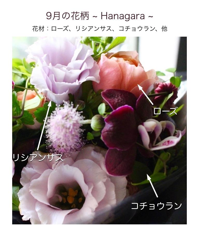 9月の花柄アレンジメント画像