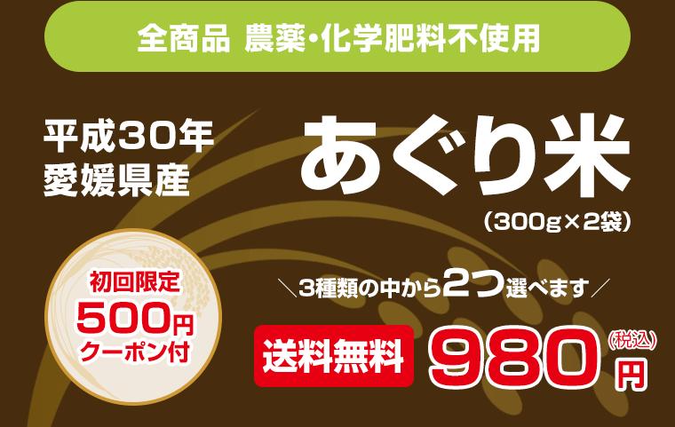 全商品 農薬・化学肥料不使用 平成30年新米 愛媛県産あぐり米(300g×2袋) 送料無料980円