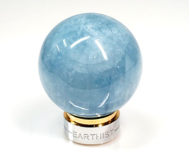 アクアマリン 丸玉置物 30~37mm玉 (EARTHIST 台座付き)|最高級パワーストーンのフォレストブルー【全商品1か月返品OK・送料無料】