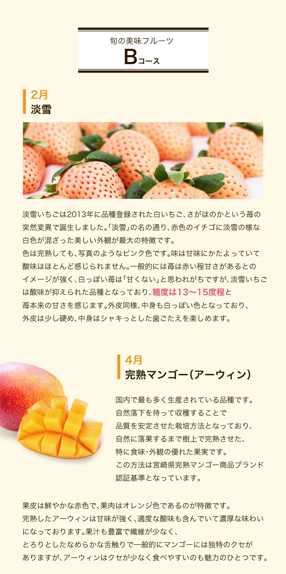 旬の美味フルーツBコース 淡雪 完熟マンゴー