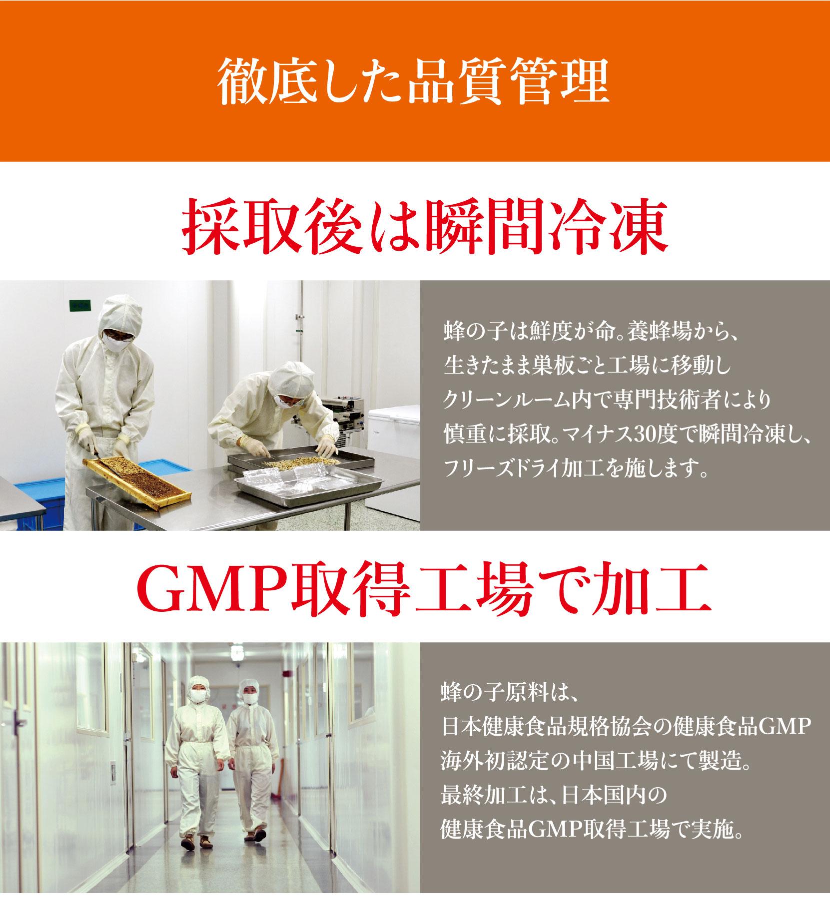 徹底した品質管理、GMP取得工場で加工