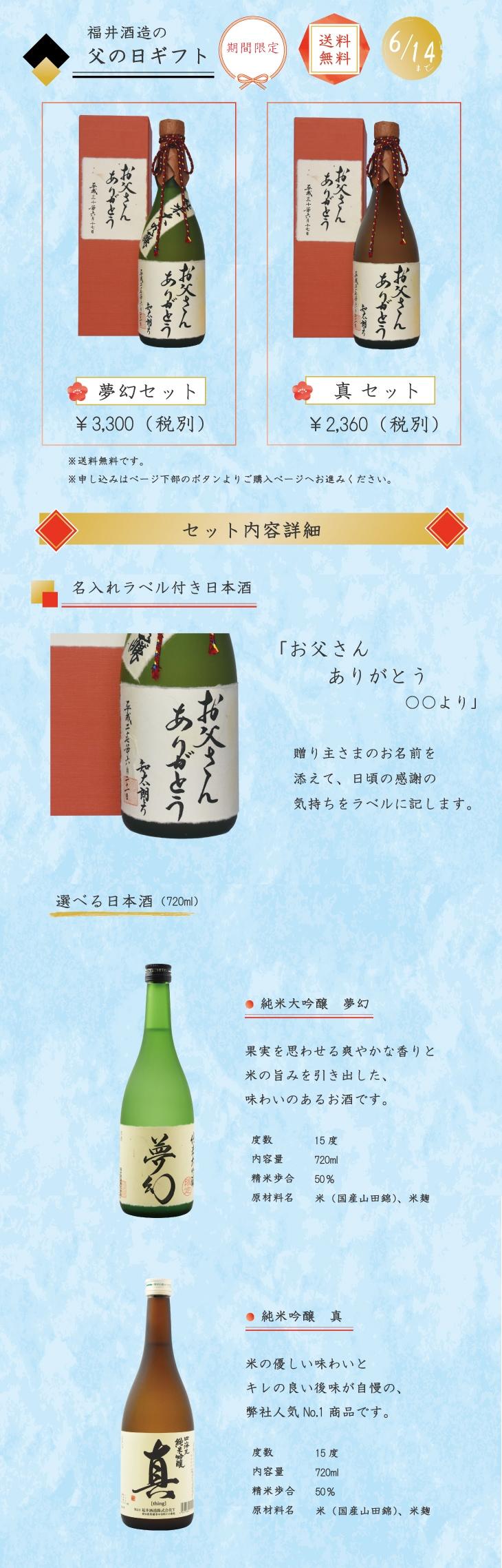 福井酒造の父の日ギフト(ラベルのみ)