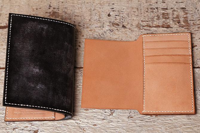 手縫い ヌメ革 二つ折り メンズ 財布 ミドルウォレット 栃木レザー 追加カード入れ裏