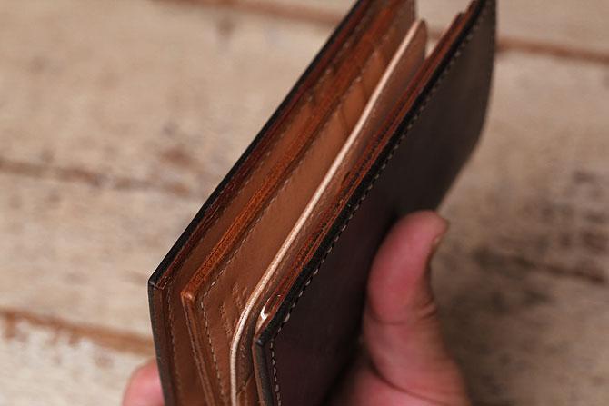 手縫い ヌメ革 二つ折り メンズ 財布 ミドルウォレット 栃木レザー 追加カード入れ2