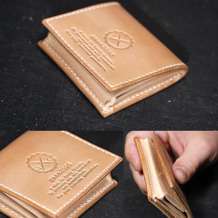 ヌメ革 コインケース メンズ 手縫い 栃木レザーボックス小銭入れ 素材感