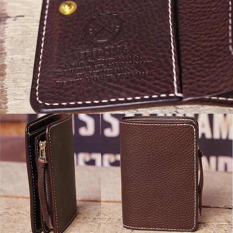 二つ折り 革財布 エルバマット 手縫い チョコ素材感2